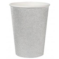 Ezüst csillámos parti pohár 10 db-os