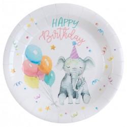 Vidám állatos, lufis születésnapi parti tányér 10 db-os