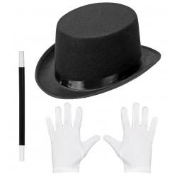 Varázsló jelmez szett - kalap, varázspálca, kesztyű