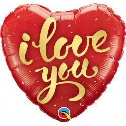 Szív Alakú Szerelmes Fólia Lufi I Love You Felirattal- 46 cm