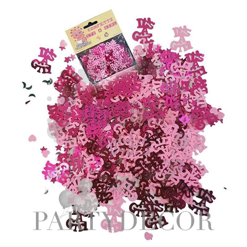 Babaszületésre kislányos - Its a girl rózsaszín konfetti , 28 gramm
