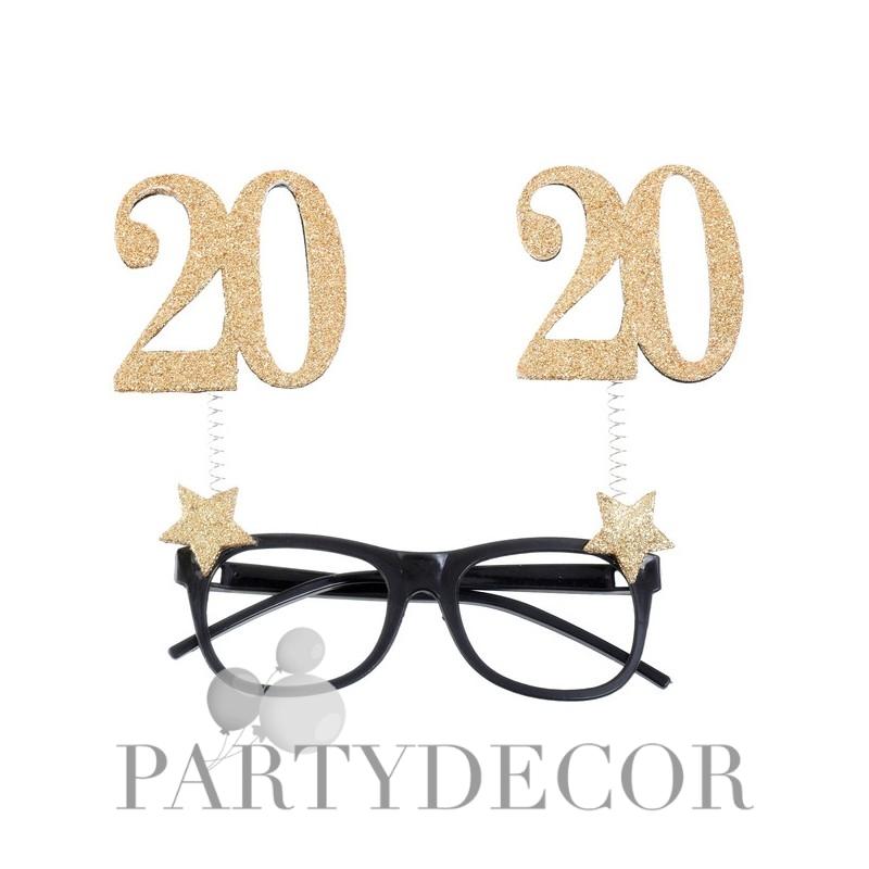 20-as Szülinapi Parti Szemüveg Glitteres Arany