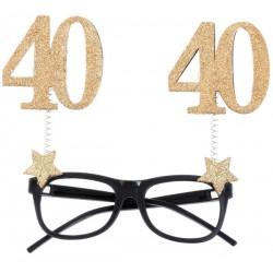 40-es Szülinapi Parti Szemüveg Glitteres Arany