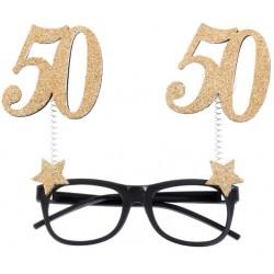 50-es Szülinapi Parti Szemüveg Glitteres Arany