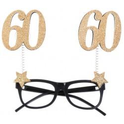 60-es Szülinapi Parti Szemüveg Glitteres Arany