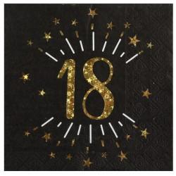 18-as számos születésnapi arany glitteres szalvéta 10 db-os
