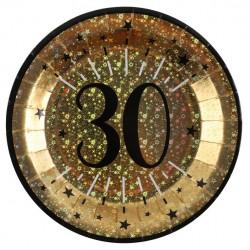 30-as számos születésnapi arany glitteres parti tányér 10 db-os