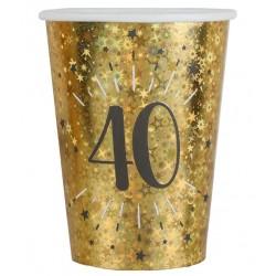 40-es számos születésnapi arany glitteres parti pohár 10 db-os