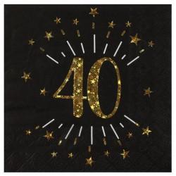 40-es számos születésnapi arany glitteres parti szalvéta 10 db-os