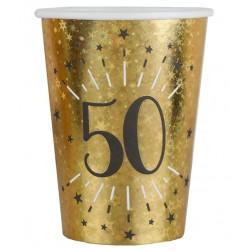 50-es számos születésnapi arany glitteres parti pohár 10 db-os