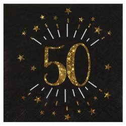 50-es számos születésnapi arany glitteres parti szalvéta10 db-os