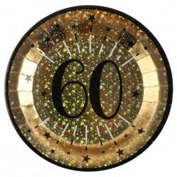 60-as számos születésnapi arany glitteres parti tányér 10 db-os
