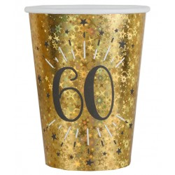 60-as számos születésnapi arany glitteres parti pohár 10 db-os