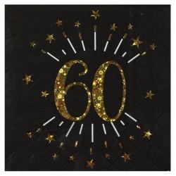 60-as számos születésnapi arany glitteres parti szalvéta 10 db-os