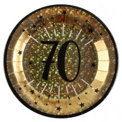 70-es számos születésnapi arany glitteres parti tányér 10 db-os