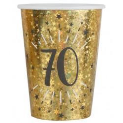 70-es számos születésnapi arany glitteres parti pohár 10 db-os