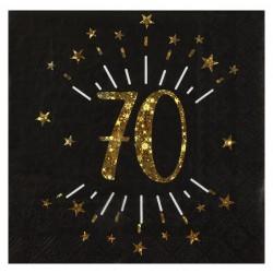 70-es számos születésnapi arany glitteres parti szalvéta 10 db-os