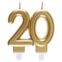 20-as Születésnapi Tortagyertya Arany Színű