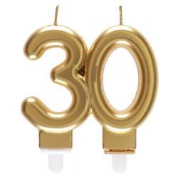30-as Születésnapi Tortagyertya Arany Színű