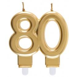 80-as Születésnapi Tortagyertya Arany Színű