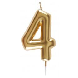 4-es Születésnapi Tortagyertya Arany Színű