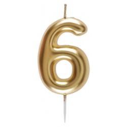 6-os Születésnapi Tortagyertya Arany Színű