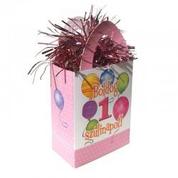 Rózsaszín első szülinapra lufi mintás ajándéktasak léggömbsúly