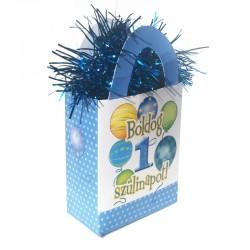 Kék első szülinapra lufi mintás ajándéktasak léggömbsúly