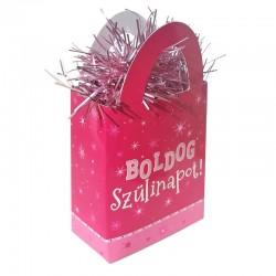 Boldog Szülinapot Feliratos Rózsaszín Ajándéktasak Léggömbsúly