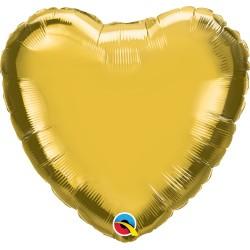Szív alakú héliumos fólia lufi - arany színű