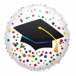 Ballagási Fólia Lufi - Diplomakalapos színes konfettis 43 cm-es