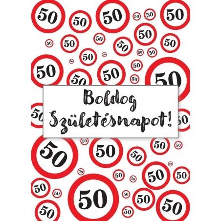 50. Születésnapi üveg címke sebességkorlátozós 2 db-os