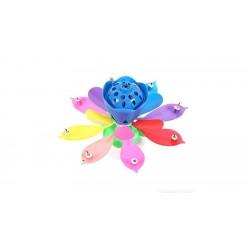 Szétnyíló virág alakú, zenélő tortagyertya - szivárvány színű