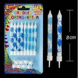 Kék lufis mintájú szálas tortagyertya 8 db-os