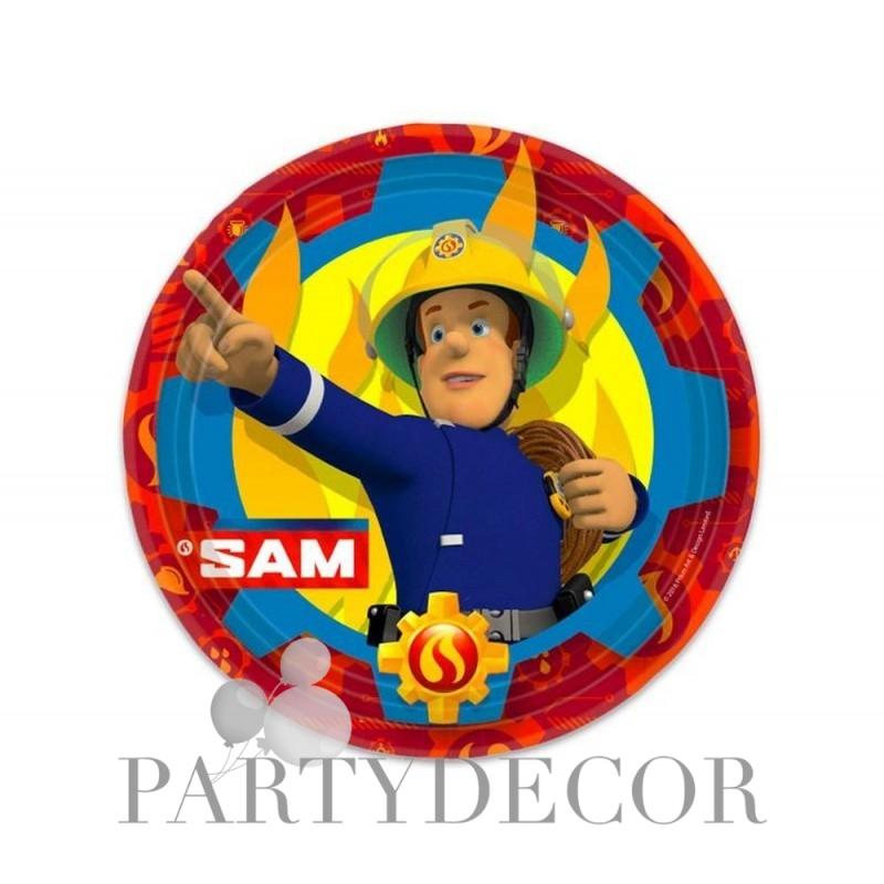 Fireman Sam - Sam a Tűzoltó Parti Tányér - 23 cm, 8 db-os