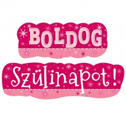 Boldog Szülinapot Feliratú Rózsaszín Parti Banner - 148 cm x 27 cm