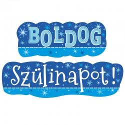 Boldog Szülinapot Feliratú Kék Parti Banner - 148 cm x 27 cm