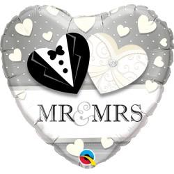Mr. & Mrs. esküvői szív fólia lufi 46 cm