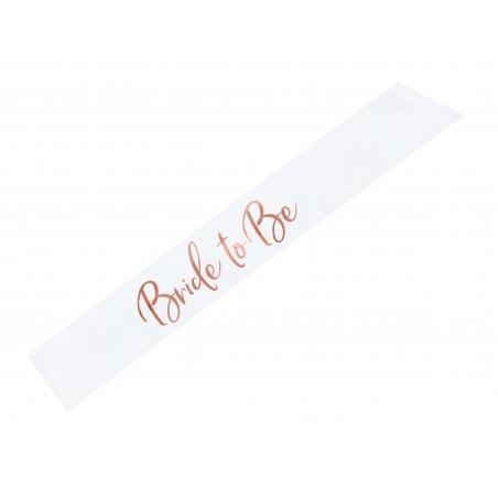 Lánybúcsúra vállszalag - Bride to be Fehér - Rosegold