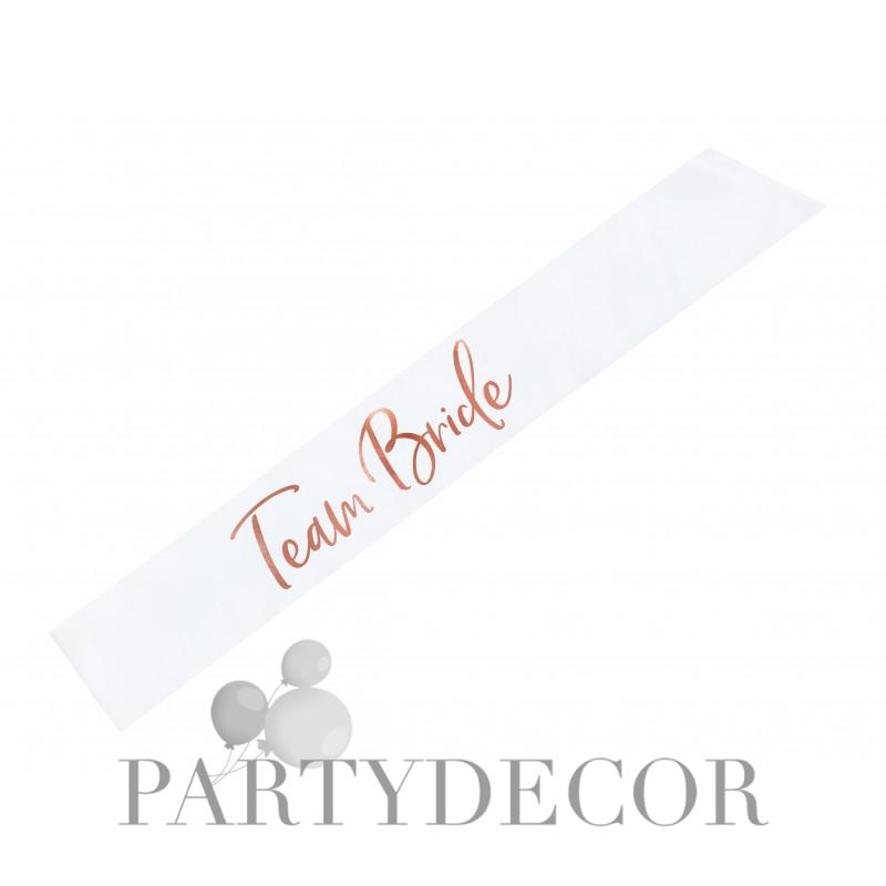 Lánybúcsúra vállszalag barátnőknek - Team Bride Fehér - Rosegold