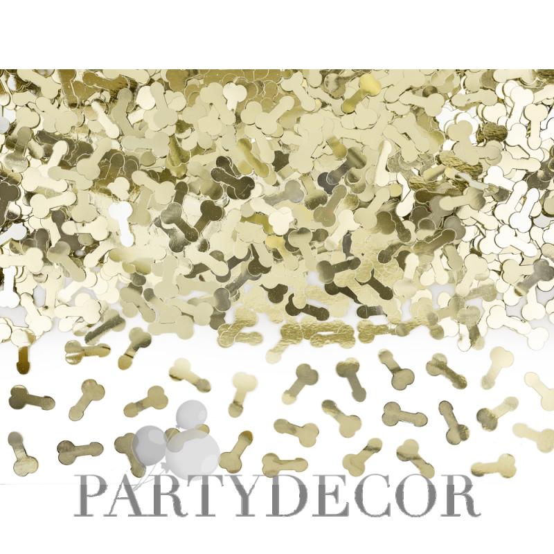 Lánybúcsús arany színű parti konfetti fütyi alakú