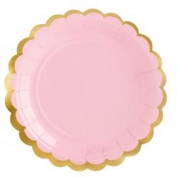 Babarózsaszín - arany party tányér 6 db-os, 18 cm-es