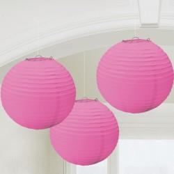 Rózsaszín Színű Gömb Parti Lampion - 24 cm, 3 db-os