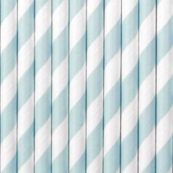 Papír szívószál kék - fehér csíkos