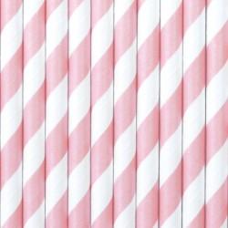 Papír szívószál pink - fehér csíkos