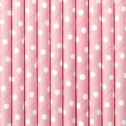 Papír szívószál pink - fehér pöttyös