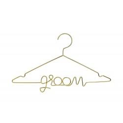 Esküvői arany színű vállfa vőlegénynek - Groom felirattal