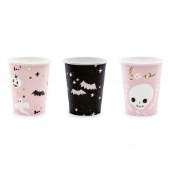 Halloween parti pohár denevérek, szellemek, pink, fekete