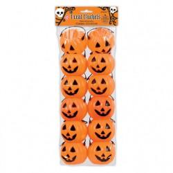 Tökfejes narancssárga műanyag vödör szett Halloweenre