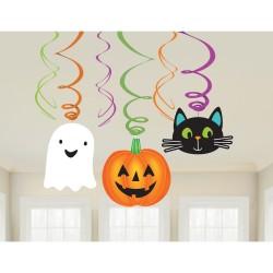 Szellem, tök, cica Halloween spirális függő dekoráció
